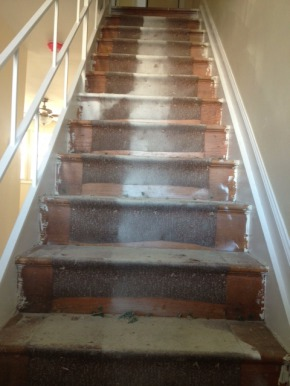 Wood staircase before renovation