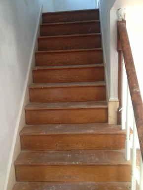 Wood staircase during renovation