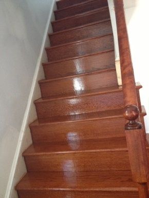 Completed wood staircase renovations